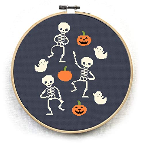 Dancing Skeleton Cross Stitch Kit - Pumpkins Jack o' Lanterns - Halloween Ghosts - Modern Embroidery Pattern (Hoop)