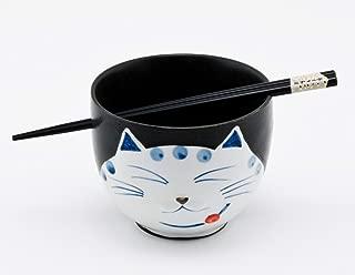 Happy Sales HSRB-CATBLK, Japanese Ramen Udon Noodle Bowl with Chopsticks Gift Set, Smiley Cat Black