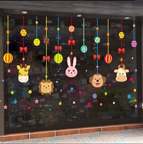 Kreative Kindergartenaufkleber doppelseitige wasserdichte Sonnencreme Fensterglas Cartoon Glasaufkleber Fensteraufkleber Wandaufkleber Türaufkleber-Cartoon doppelseitig Willkommen Kinder_Big