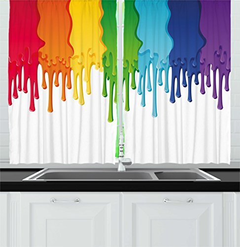 Ambesonne Abstract Kitchen Curtains, Rainbow Colored Paint with Leaking Splattered Drops Creative Graphic Design, Window Drapes 2 Panel Set for Kitchen Cafe Decor, 55