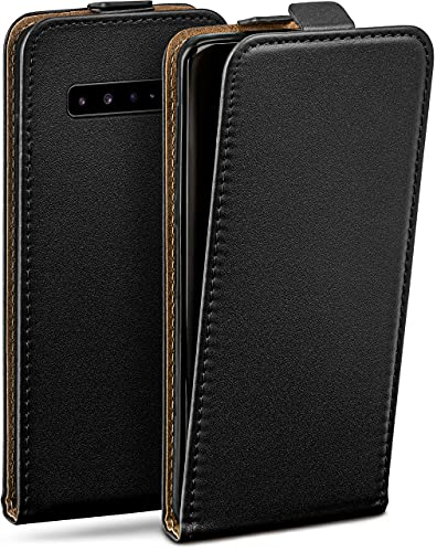 moex Flip Hülle für Samsung Galaxy S10 5G Hülle klappbar, 360 Grad R&um Komplett-Schutz, Klapphülle aus Vegan Leder, Handytasche mit vertikaler Klappe, magnetisch - Schwarz