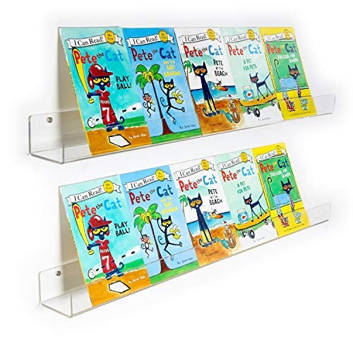 NIUBEE 2 Packs Kids Acrylic Floating Bookshelf 36 Inch Clear Bathroom Wall Floating Shelves Invisible Wall Bookshelves Ledge Book Shelf 50% Thicker with Free Screwdriver