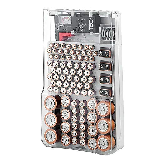 Battery Storage Organizer Case, Batteries Storage Box Holds 93 Different Size Batteries for AAA, AA, 9V, Flat Batteries,C and D size with Removable Battery Tester
