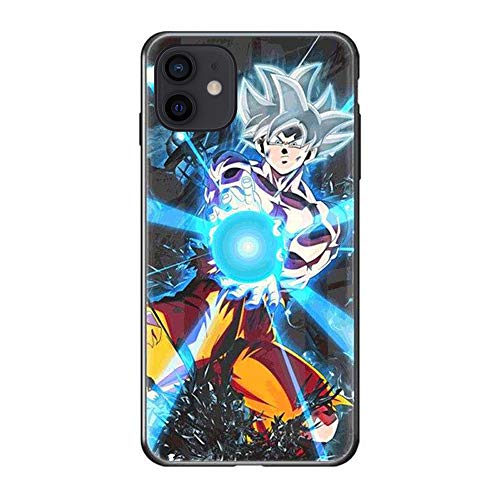Generic Son Goku Kamehameha Call Led Flash Luminescent Glass case for iPhone 11, Anime Comic Theme Case Anti-Scratch Mobile Phone Glass Cover