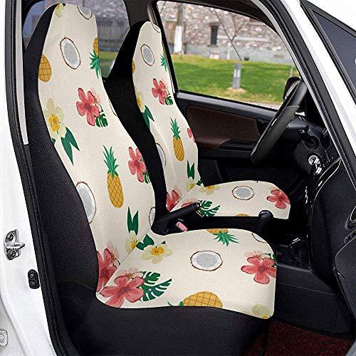 TABUE 2 stuks Tropical Pineapple Front Bucket autostoelhoezen geschikt voor de meeste voertuigen, auto's, limousines, vrachtwagens en SUV's