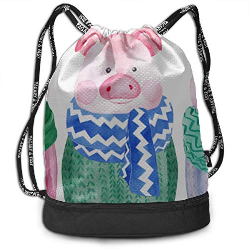 OKIJH Mochila Mochila de ocio Mochila con cordón Mochila multifuncional Bolsa de gimnasio Athletic Drawstring Bag Cute Pig Wear Colorful Scarf Gym Drawstring Bags Backpack Sports String Bundle Backpac