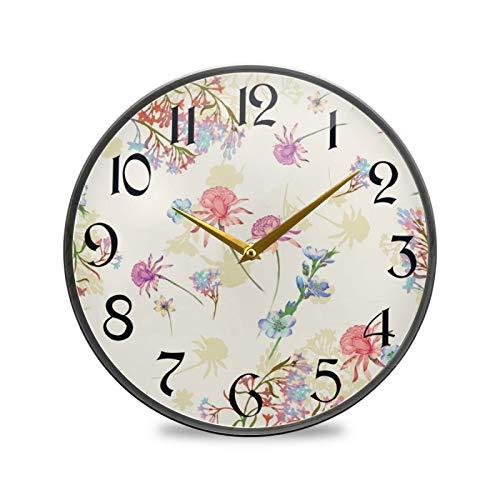 ART VVIES Reloj de Pared Redondo de 9,5 Pulgadas, sin tictac, silencioso, Funciona con Pilas, Oficina, Cocina, Dormitorio, decoración del hogar, Arte primaveral, Rosa de Flores Silvestres