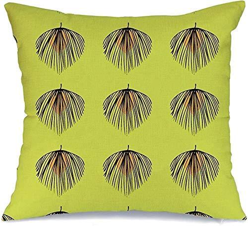JKSA Funda de almohada decorativa Tropic Branch, hojas tropicales femeninas, blanco, abstracto, belleza natural, de moda, Hawaii, Palm Beach, lino, cojines, funda para sofá, cama, sofá, funda de almoh