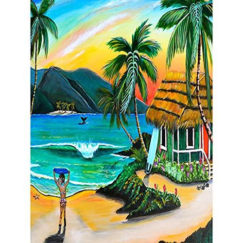 Trendyest 5D Diamond Painting Full Kit, 5D Diamond Painting DIY Flowers, Diamond Painting Coconut Tree, Round Diamond Painting, Living Room Decorations, 30*40CM