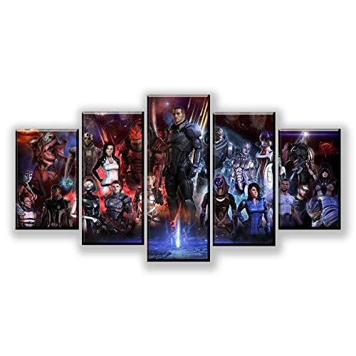 Loveygg 5 Piezas Pintura sobre Lienzo Moderna Pintura Impresión del Hogar Sala Estar Dormitorio Cuadro Regalo Carteles Juego Mass Effect Role,150x80cm