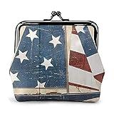 Bandera estadounidense de madera, barco de vela, estilo vintage, con cerradura para monedas, billetes, hebilla de piel, llavero para mujer estampado.