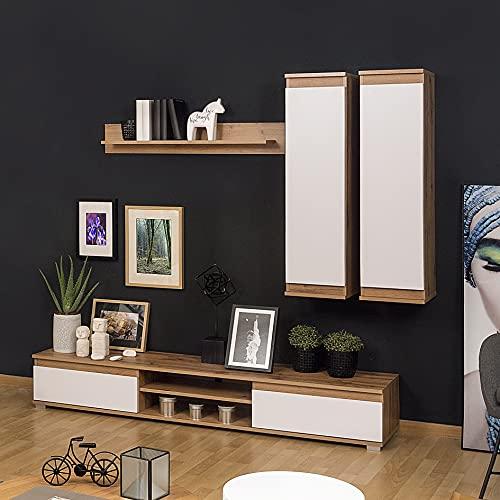 Homely Mueble de salón Modular Lucky de 203 cm (Nogal/Blanco)