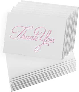 Fine Invite Papers 10 Piece Foil Stamped Embossed Thank you Cards, Baby Pink
