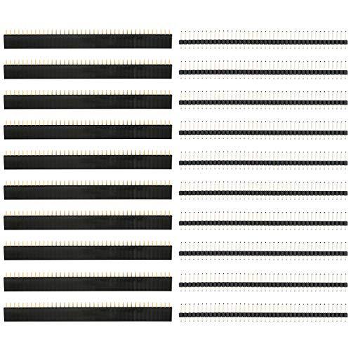 COM-FOUR® 20-delige pin-header set met mannelijke en vrouwelijke 40-pins PCB-headers