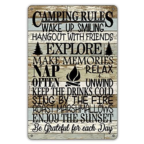 QIONGQI Divertido cartel de metal de las reglas de campamento para decoración de pared de casa de campo rústica con refranes para decoración de habitación de casa camper regalos