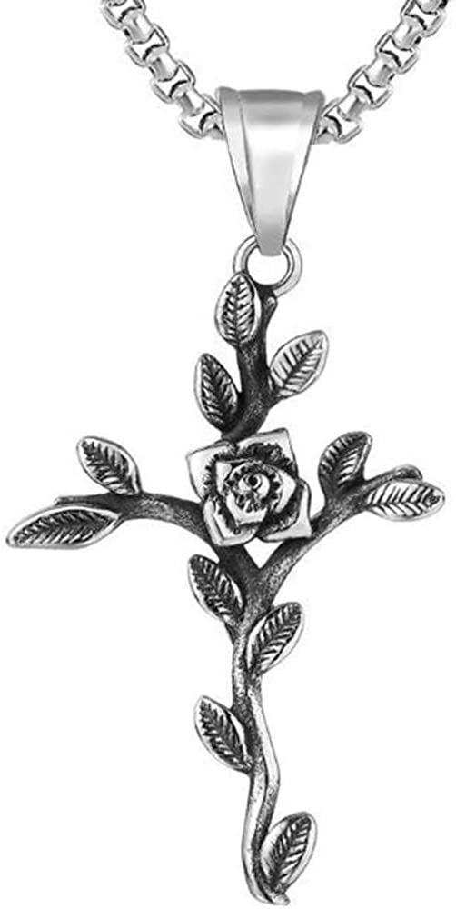 Jude Jewelers Vintage Style Stainless Steel Flower Leaf Style Christian Cross Religious Pendant Necklace