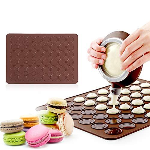 Wakects Macaron Set - Molde de silicona para macarons, molde de silicona para perfecto macarons, 48 moldes individuales, 39 x 28,5 cm