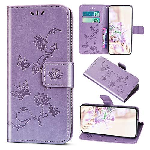 Saceebe Compatible avec Samsung Galaxy J2 Pro 2018 Coque Housse Cuir Pochette Portefeuille Etui Fille 3D Motif Fleur Papillon Coque Housse Protection