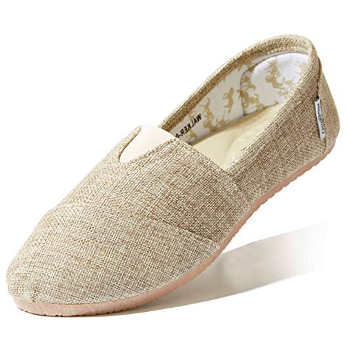 DailyShoes Women's Slip On Flats Massage Surface Flat Shoe Loafer Boat Classic Extra Wide Arch Support Concealed Pain Relief Shoes Feet Ballet Natural,Linen,5.5