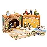 yoamo Spiel-Krippe für Kinder inkl. Adventskalender mit 24 Holzfiguren, hochwertigem Spielkoffer und Weihnachts-Geschichte, 27-teilig (1 Set)