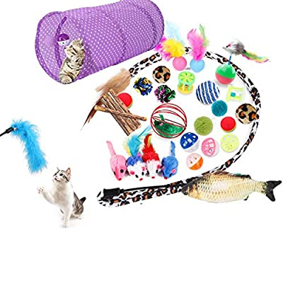 28 Cat Toys Kitten Toys Assortments, 2 Way Tunnel, Cat Tunnel Catnip Fish Feather Teaser Wand Fish Fluffy Mouse Mice Balls and Bells Toys for Cat Puppy Kitty
