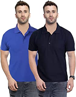 Camfoot Men's (Polo_3_9) Multicolor Pack of 2 Poly Cotton Collar & Plain Comfort Regular Slim Fit T-Shirt