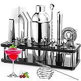 Cocktail Set, RATEL 18 Stück Edelstahl Cocktail Zubehör Mix Set, Professionelles Barzubehör Werkzeug Party Essential Cocktailshaker Set, 750ml Cocktail Shaker, Jigger, Cocktailbuch Holzständer Usw