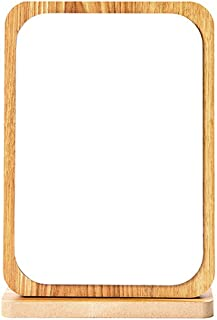 MXD Mirror Wood Mirror Folding Single-Sided Makeup Mirror Desktop Vanity Mirror Student Dormitory Desktop HD Portable Raw Wood Color (Size : S)