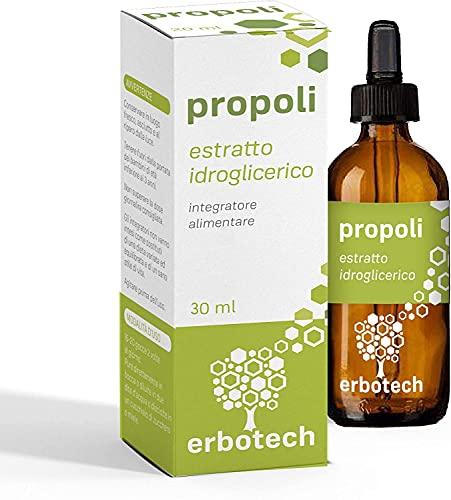 ERBOTECH Propoli (propolis) con Contagocce 30 ml, Tintura Madre, estratto puro, adatto ai Bambini, rimedio naturale per mal di gola, contribuisce al benessere delle vie respiratorie, Made in Italy