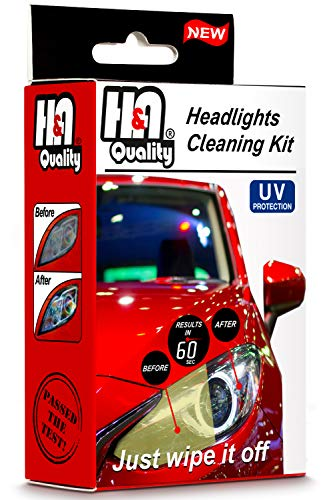 H&A QUALITY Headlight Restoration Kit, Headlights Car Detailing Kit Lens Cleaning Wipes