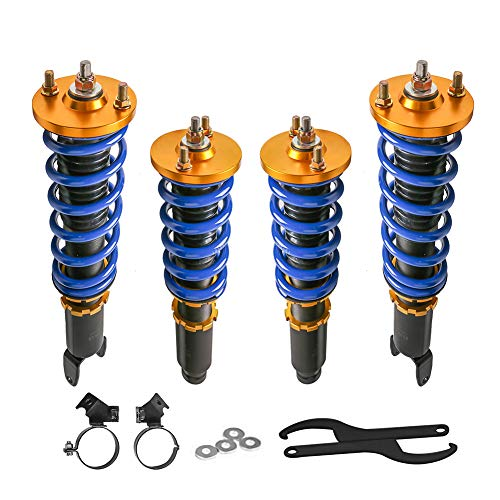 MOSTPLUS Adjustable Height Coilovers Struts Compatible for Honda Civic 1993-2000 EK EJ EM Coil Spring Over Shock Front Rear (Set of 4)