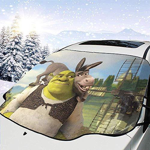 ETGeed Anime Shrek Car Windschutzscheibenabdeckung - Frost, EIS, Schnee, Wasser, Kratzer, Extra große Windschutzscheibe Winterabdeckung