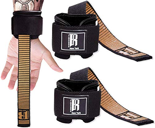RIMSports Weight Lifting Straps with Wrist Support Straps for Weightlifting Superior Deadlift Straps and Workout Wrist Wraps for Deadlifting in Gym Ideal Lift Straps for Powerlifting (Gold)