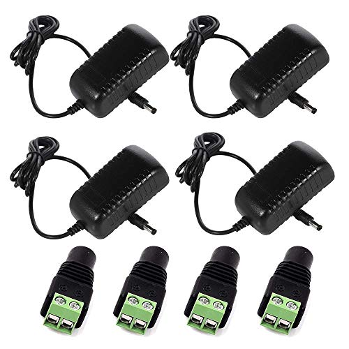 Henxlco AC 100-240V to DC 12V 2A 24W Switching Power Supply Adapter Transformers for LED Strip Flexible Lights (4Pack)