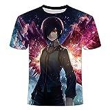 LHLYDFGG Camisetas de Moda Tokyo Ghoul Camiseta Hombres Sangre Camisetas Casual Estampado Anime Ropa Cosplay Camiseta Impresa-C_S