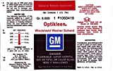 1955 1956 1957 1958 1959 1960 Cadillac Optikleen Windshield Wiper Washer Glass Solvent Bottle Decal Sticker NOS For Fleetwood 60, 75, Eldorado, DeVille, Comercial