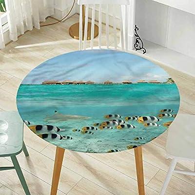 Round Tablecloth Round Tablecloth Fabric Tablecloth,Ocean,Shark Chasing Butterfly Fish