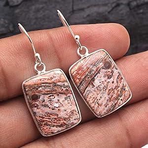 Leopard Skin Jasper Gemstone Solid Drop & Dangle Earring - 925 Sterling Silver Jewelry Vintage Silver Earrings Antique Earring