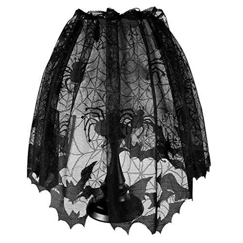 LQH Ventana Bat Telaraa Shade 60x20 Pulgadas Lmpara de Halloween Negro de la Cubierta del cordn de la Cortina de Puerta Chimenea Partido de la Bufanda de la decoracin del hogar Manto Negro