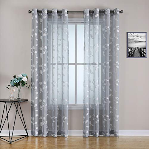 Haperlare Grey Sheer Curtains, Room Decorative Leaf Embroidery Voile Grommet Sheer Curtain Panels, Botanical Embroidered Semi Sheer Window Drapes for Bedroom, 52 x 63 Inch, 2 Panels