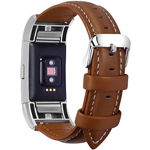 Fullmosa Compatible avec Bracelet Charge 2,Compatible avec Charge 2 Bracelet Sport avec Connecteurs Métal,Bracelet Connectée Femme Cuir, Marron