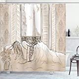 Ambesonne Paris Shower Curtain, Parisian Woman Sleeping with The View of Eiffiel Tower from Window Romance Skecthy Modern, Cloth Fabric Bathroom Decor Set with Hooks, 70' Long, Cream