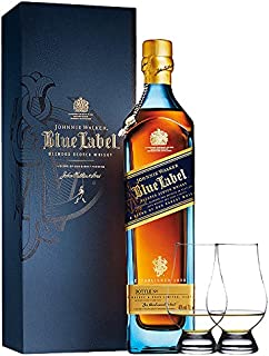 Johnnie Walker Blue Label Blended Scotch Whisky 0,7 Liter  2 Glencairn Gläser