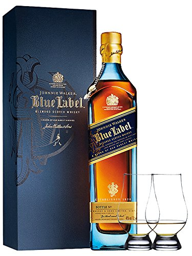 Johnnie Walker Blue Label Blended Scotch Whisky 0,7 Liter + 2 Glencairn Gläser