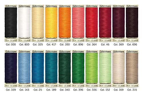Gutermann 734610-1 Juego de Hilos para Coser (100 m x carretes de 20 Unidades), Brights populares