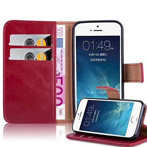 Cadorabo Custodia Libro per Apple iPhone 5 / iPhone 5S / iPhone SE in Rosso Vinaccia - con Vani di Carte, Funzione Stand e Chiusura Magnetica - Portafoglio Cover Case Wallet Book Etui Protezione