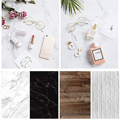 Bcolorpic Food Photography Backdrops Paper 4 Pack Kit 22x34Inch/ 56x86cm Double Sided Photo Background Rolls Marble Wood Flat Lay for Product Jewelry Tabletop Prop Pictures, 8 Patterns