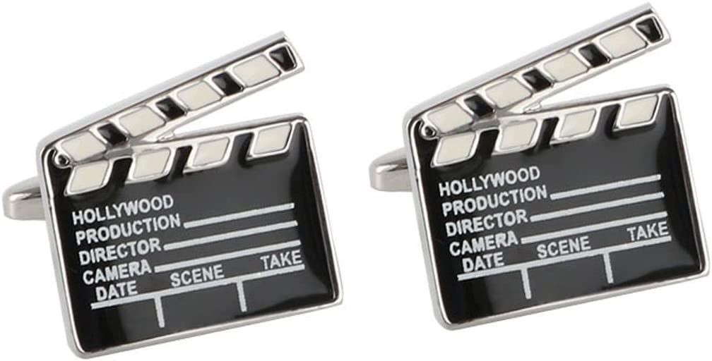 BO LAI DE Men's Cufflinks Fun Director's Clapboard-Shaped Metal Cuff Links Suitable for Business Events, Meetings, Dances, Weddings, Tuxedos, Formal Wear, Shirts, with Gift Boxes