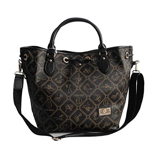 Giulia Pieralli DamenHandtasche All-Over Muster Print Glamour Damentasche Umhängetasche Henkeltasche XXL Bag - präsentiert von ZMOKA® in versch.Farben (Schwarz)