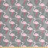 Ambesonne Flamingo Stoff von The Yard, verblasste Insel